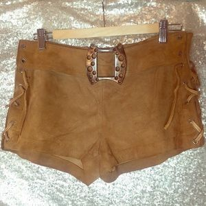 Vintage 60's tan leather suede shorts with belt